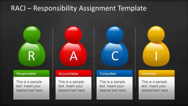 Raci template for powerpoint with sticky notes for Linear responsibility chart template