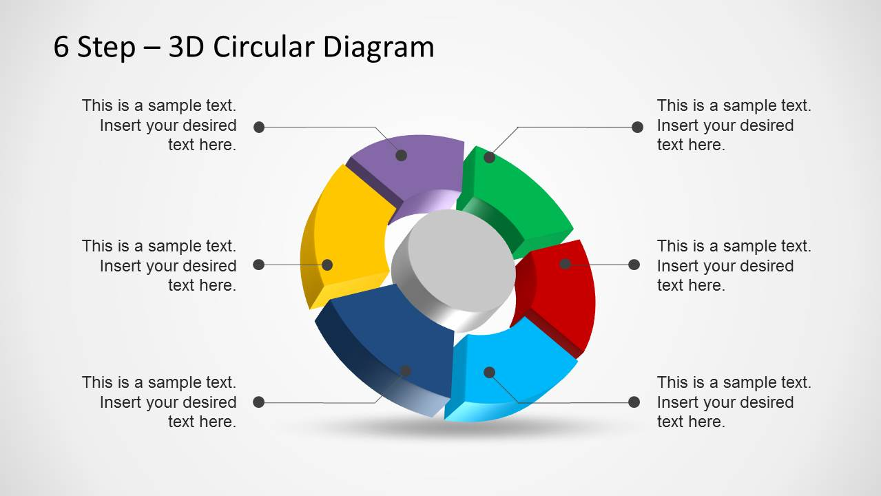 6 Step 3d Circular Diagram Template For Powerpoint