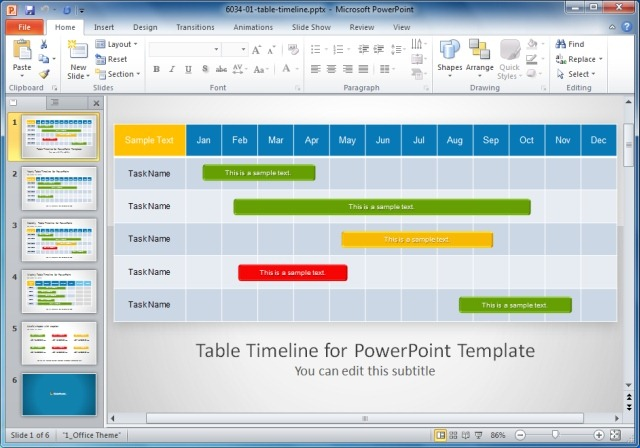 The project planning template for PowerPoint offers a weekly, monthly ...